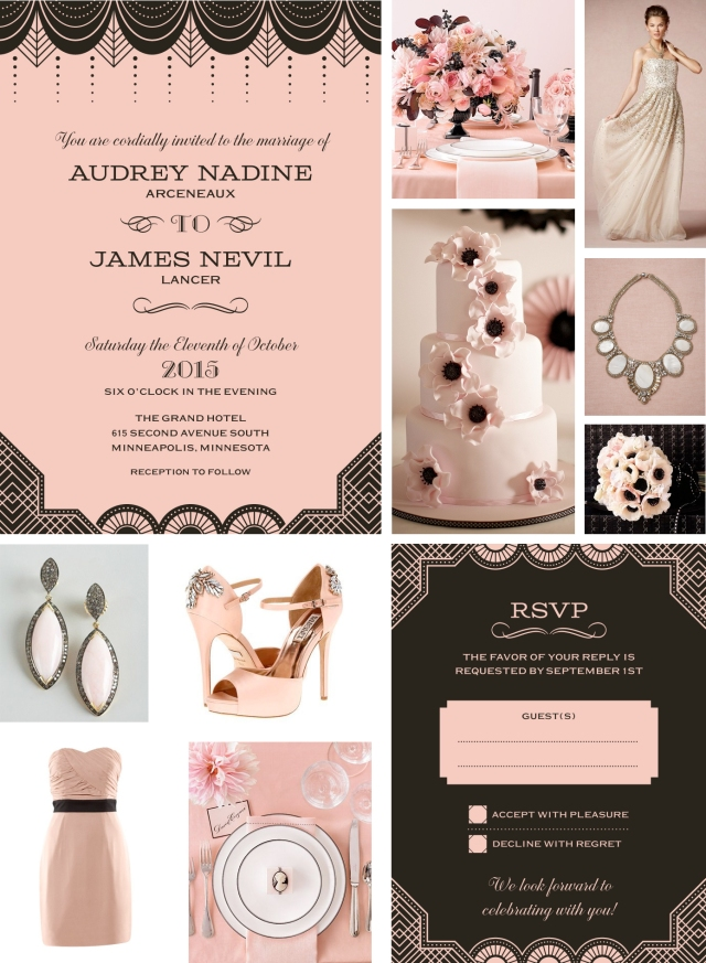 Pink & Black Wedding Collage